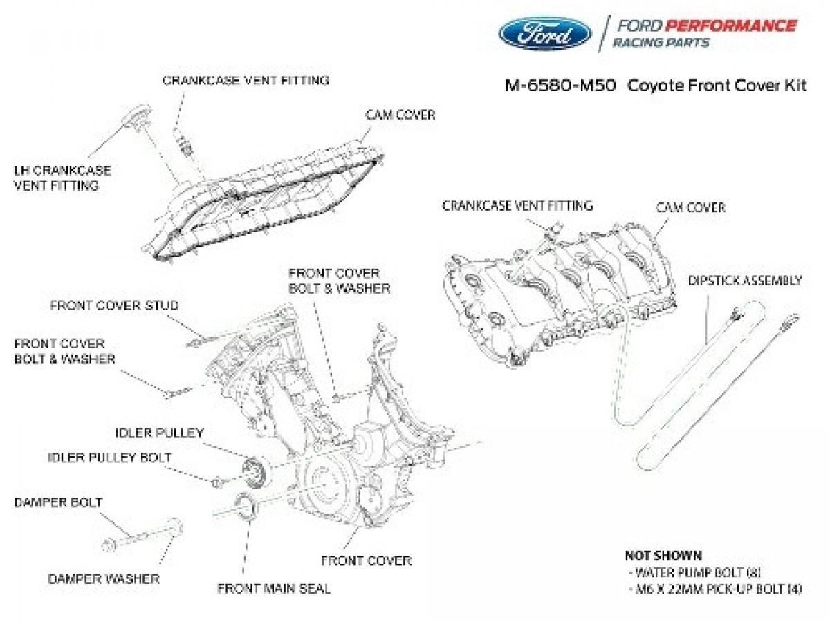 Ford Racing 5 0l Coyote Front Cam Cover Kit M 6580 M50 Levittown Ford